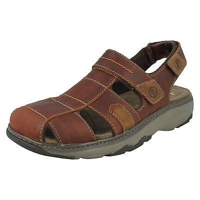 Herren Clarks Braunes Leder Klettverschluss Geschlossene Riemchensandalen Schuhe | eBay