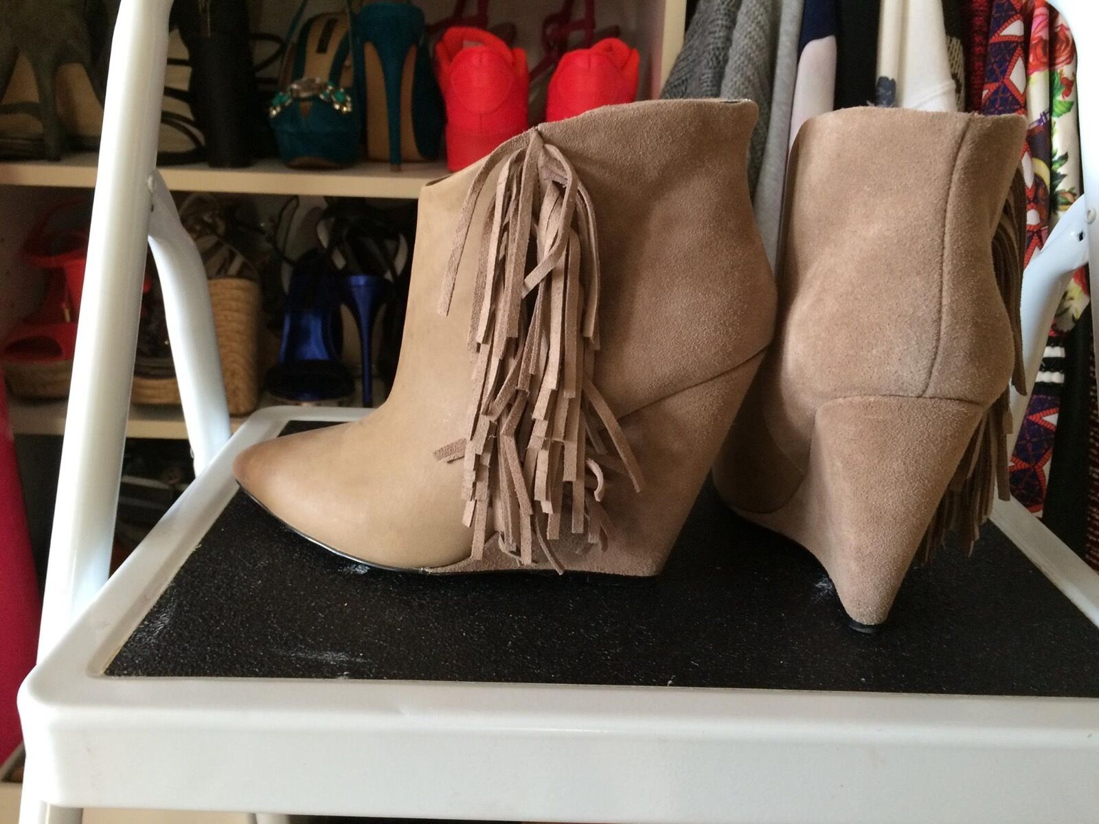 Betsey Johnson Beige/Taupe Ziah Fringe Boho Ankle Boots Size 7 *WORN ONCE*