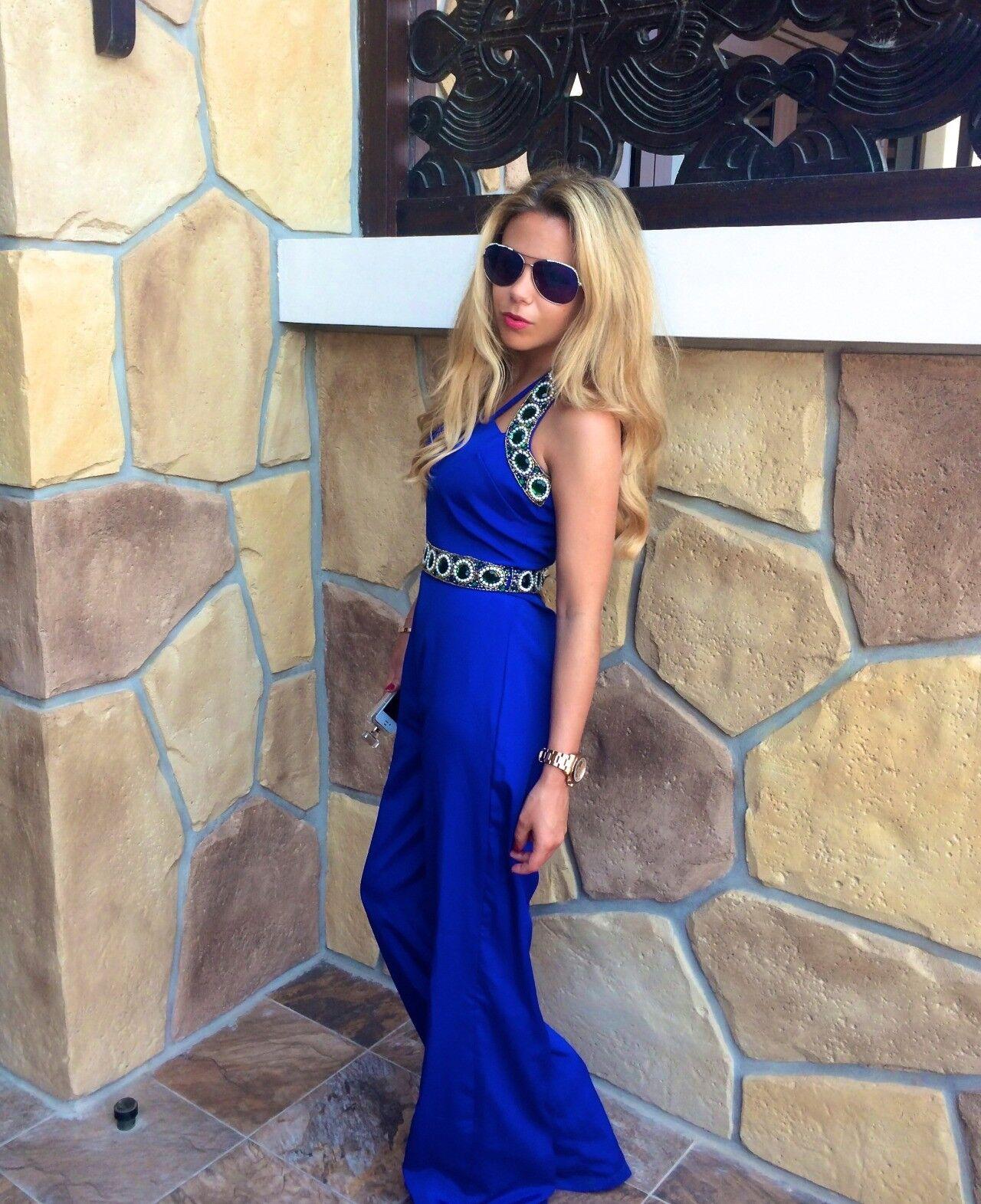 Virgos Lounge bluee Embellished Jumpsuit Dress Wedding Cruise Occasion Party 10