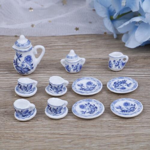 15Pcs 1:12 Dollhouse miniature blue flower tableware porcelain coffee tea cup WH