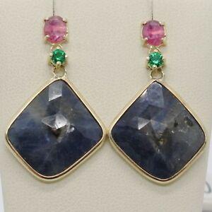 Pendientes-de-Oro-Amarillo-9K-con-Zafiros-Azul-y-Rosa-y-Peridoto-Made-IN-Italy