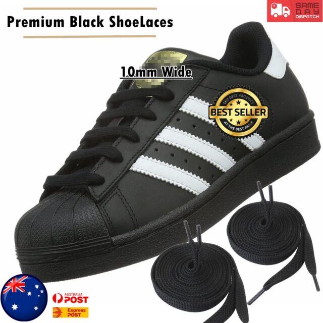 Black Premium 10mm Wide Shoelaces Flat Shoe Laces Sport Sneakers AUS