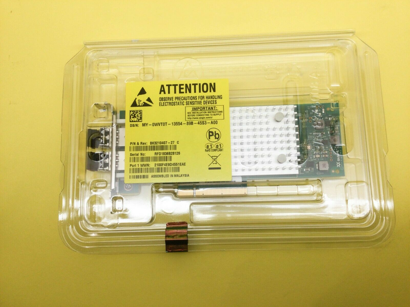 Dell qle2692l hba 16gb dual port fibre channel card wvt0t new
