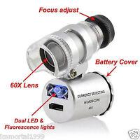 LOUPE portable de bijoutier horloger  éclairé LED+UV Grossissement X 60