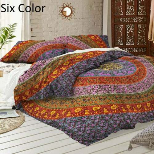 Indian Mandala Duvet Cover Hippie Queen//Twin Quilt Cover Bohemian Bedding Cover