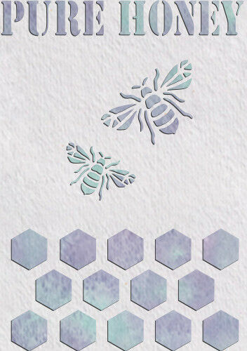 Pure Honey Bees Stencil Template Card making Paint Home Decor Plaque Crafts QU21
