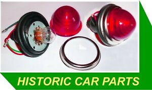 2-STOP-TAIL-LIGHTS-21-5watt-12volt-Durite-with-PLASTIC-Red-Round-Lenses-Rear