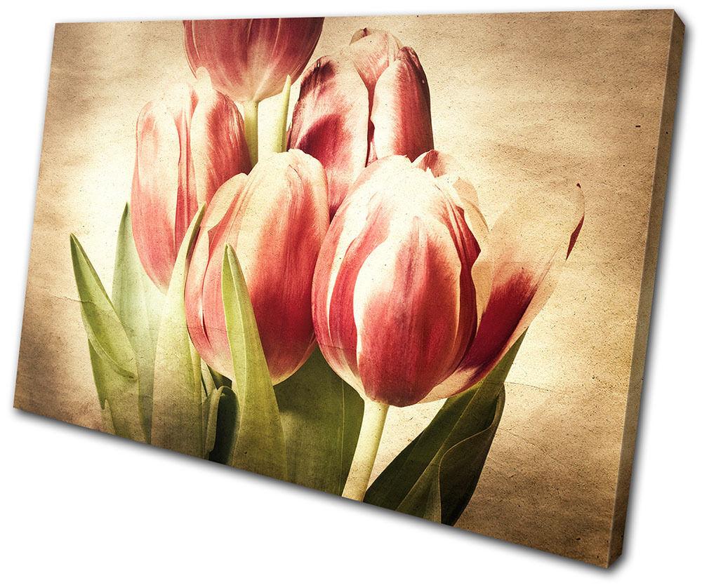 Vintage Tulips Flowers SINGLE TELA parete arte foto stampa