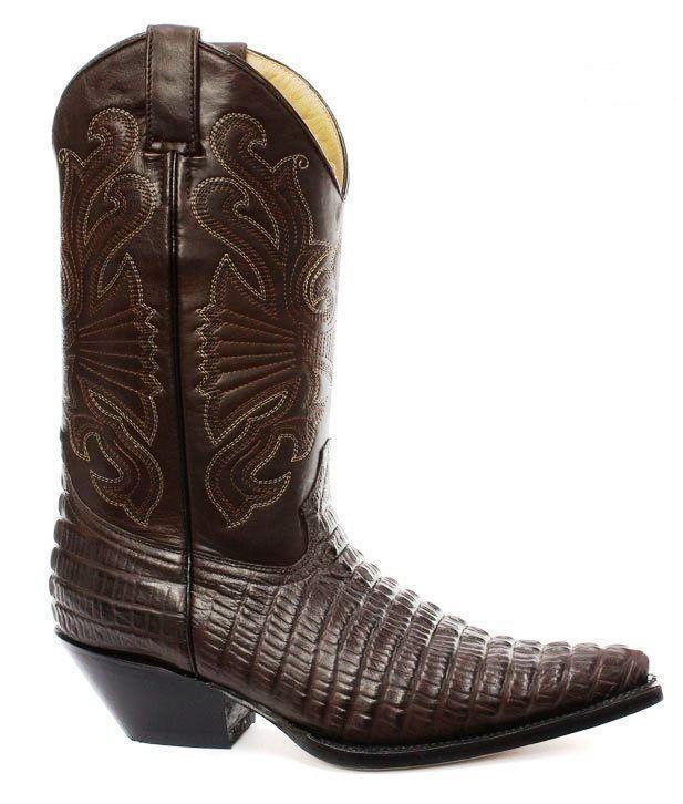 Grinders Crocodile Carolina CROC Marrón Leather Crocodile Grinders Tail botas Cowboy Western botas 912d0e