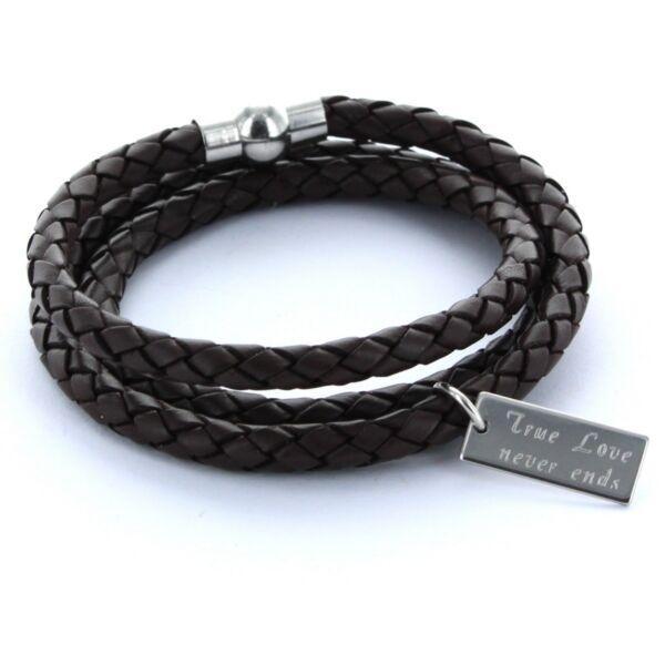 Lieblingsmensch® Armband Lederarmband 0,5cm 3x Gewickelt & Gravur Braun SorgfäLtig AusgewäHlte Materialien