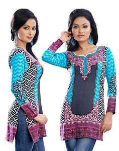UK-sizes-8-24-Women-Fashion-Indian-Short-Kurti-Tunic-Kurta-Top-Shirt-Dress-105C