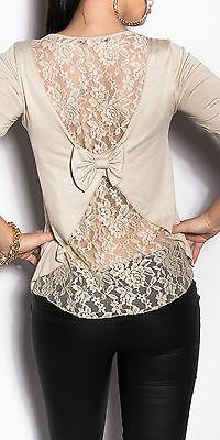 Sexy Damen Oberteil Dress Shirt Longsleeve Langarm Schleife Spitze S-M 36 38