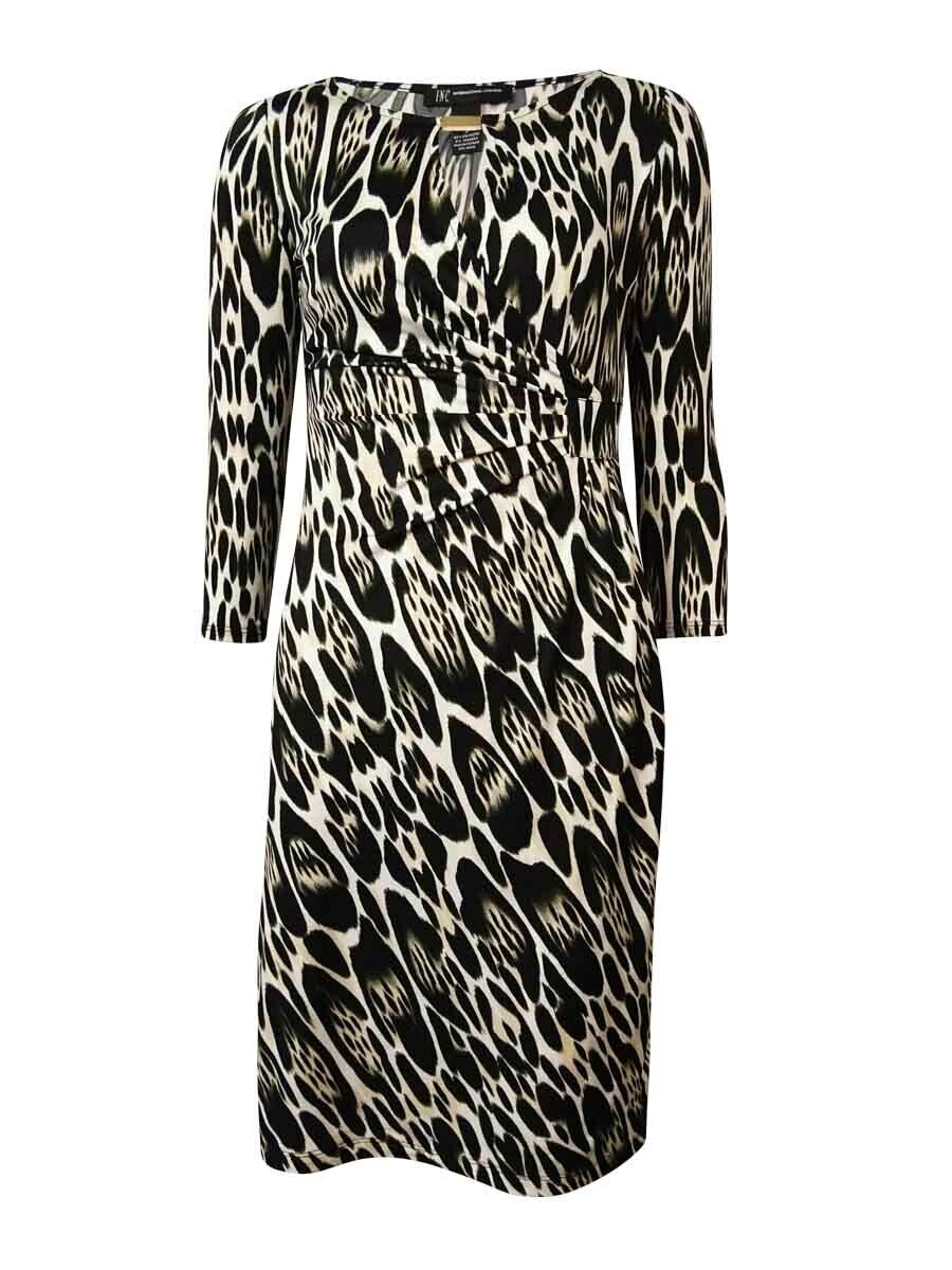 INC International Concepts Woherren Keyhole Gatherot Dress (S, Oblong Leopard)