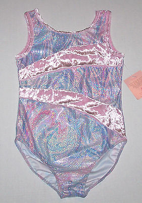 NWT New Capezio Leotard Leo Swirl Pink Blue Silver Holo Hologram Cute Nice Girl