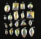 50pc Clear AB Sew On teardrop/rectangle Cut Glass flatback Crystal Rhinestone pk