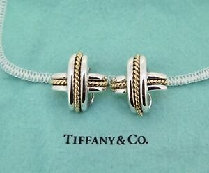 .Vintage Tiffany & Co 18K Yellow Gold & Sterling Signature X Clip-On Earrings