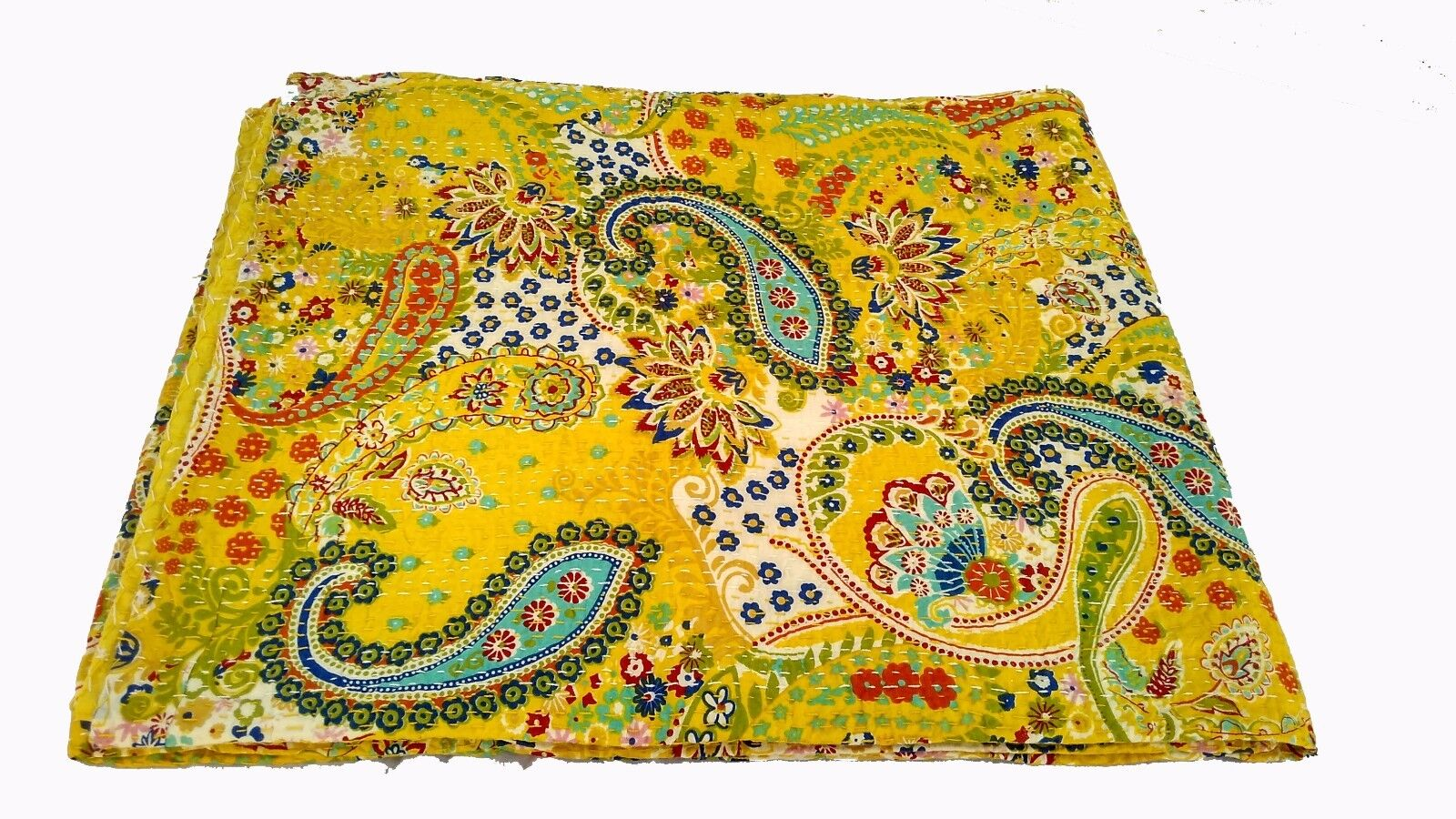 YELLOW KANTHA QUILT BEDSPREAD COTTON HANDMADE PATCHWORK INDIAN BLANKET  CRAZY