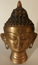 "VINTAGE-SOLID BRASS BUDHA HEAD FIGURINE 8""X6""X4""-Weighs 3 Pounds-Made In India"