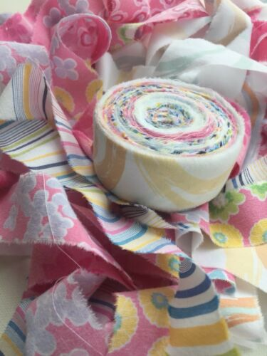 Rag Rug Strips PreCut Fabric Strips Rugmaking Yarn Amish Knot Light Color 60 yds