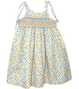 Girls-VIVE-LA-FETE-smocked-sundress-2T-3T-4T-NWT-polka-dot-dress-beach-aqua