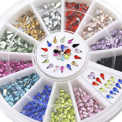 Fashion Decoration Waterdrop Shape Rhinestone 12 Colors Nail Art Glitter Wheel