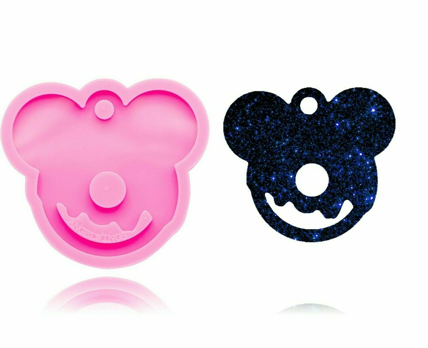 Bear head mold DIY Mouse head epoxy resin craft silicone keychain molds Key ring accessories,Silicone Mold,Jewelry Mold Glitter Mold