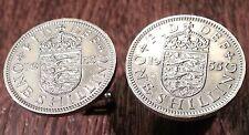 Vintage Crowned British Shield Crest w/ Three Lions English Coin Cufflinks + Box