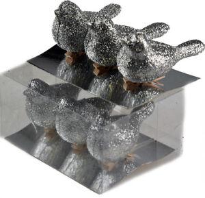 Set-di-6-Argento-Abbagliante-Glitter-SONG-BIRD-Clip-per-decorazioni-albero-di-Natale