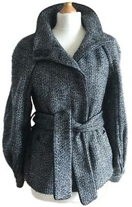 Zara-Woman-Monochrome-Black-White-Tweed-Short-Coat-Jacket-Belted-60s-Mod-10-12