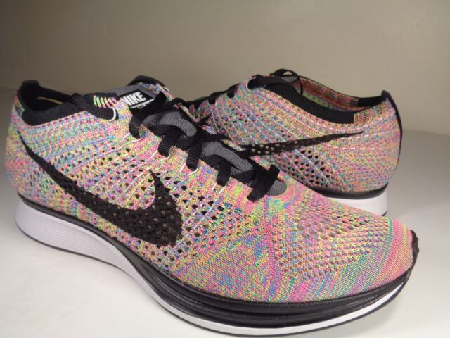 watch 04ebf d56e6 Nike Flyknit Racer 3.0 Multicolor Rainbow Grey Black Blue SZ 9.5 (526628-004 )