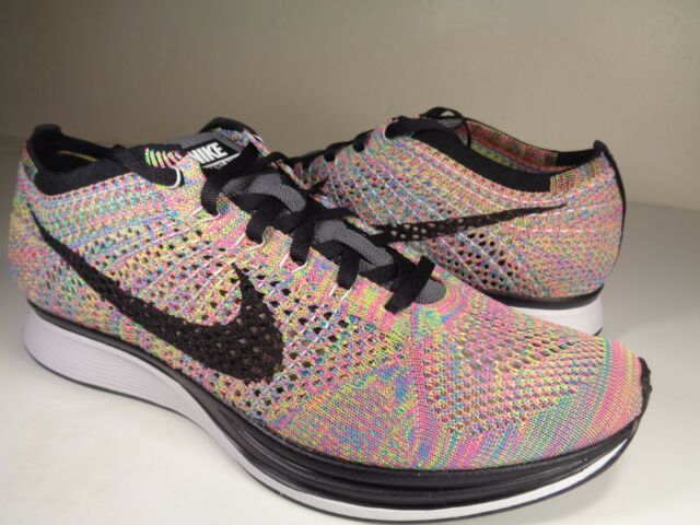 quality design 35b97 8fc1e Nike Flyknit Racer 3.0 Multicolor Rainbow Grey Black Blue SZ 9.5  (526628-004)