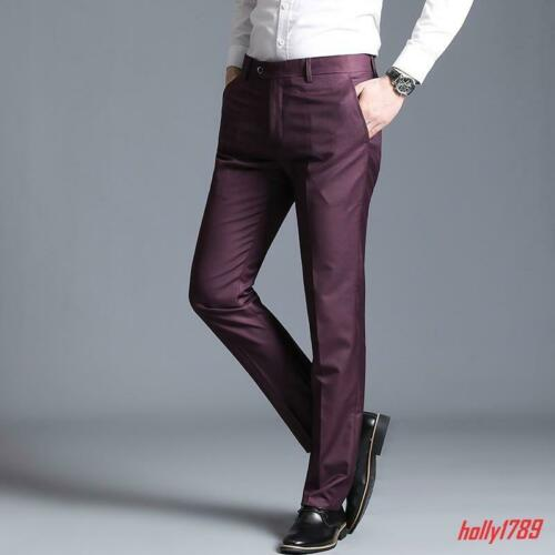 Fashion Mens Dress Formal Business Office Siut Pants Casual Slim Fit Trousers