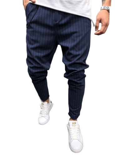 Men/'s Formal Suit Pants Casual Slim Fit Straight Trousers Striped Skinny Pant