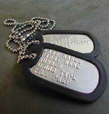 Custom Embossed Military Stainless Steel Army Navy USMC AF ID Dog Tags Set  SHINY 6e4665fcae8