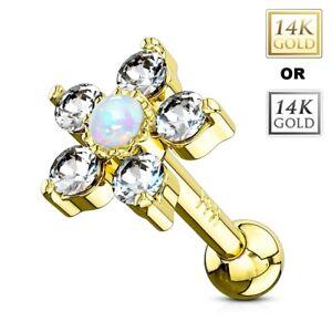 14K or Opale Fleur Clous Tragus Cartilage Hélice Conque Bague D'Oreille fmg6OZWe-08050657-654182716