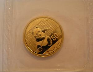 Cina-2014-Oro-1-10-Oncia-Panda-50-Yuan-Originale-come-Nuovo-Sigillato-Bu