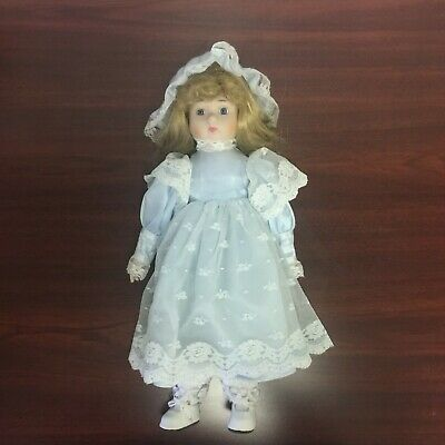 Miniature Porcelain Doll*Brown Hair*Blue Eyes*BLUE Velvet Dress*CHRISTMAS