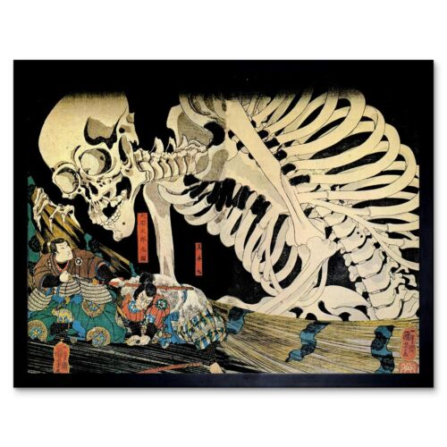 Painting Fantasy Scene Mitsukini Defies Skeleton Utagawa Kuniyoshi Framed Print