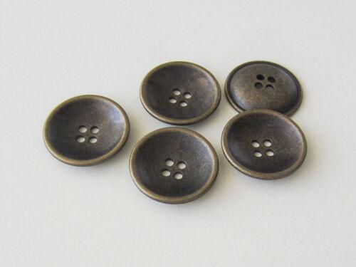 5 schüsselförmige Vierloch Metallknöpfe in Altmessingfarben 1580am