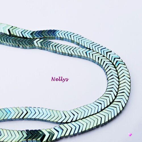 Nellys Hématite V-Forme environ 4x6mm Brin Perles Pierres Précieuses 11 couleurs