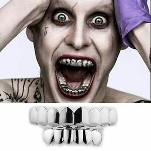 Details About Joker Grillz 8 Teeth Top Bottom Silver Fake Mouth Grills For Costume