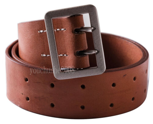 """WWII GERMAN OFFICER DOUBLE CLAW BROWN BELT HOLE SIZE XL 42-47/"""" 35812"""