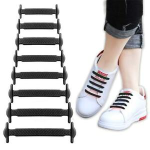 16pcs Lazy Elastic Silicone No Tie Running Sneakers Shoelaces Strings Shoe Laces