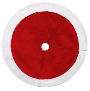 100cm-Christmas-Plush-Red-Tree-Base-Apron-Skirt-White-Trim-Ornament-Decoration