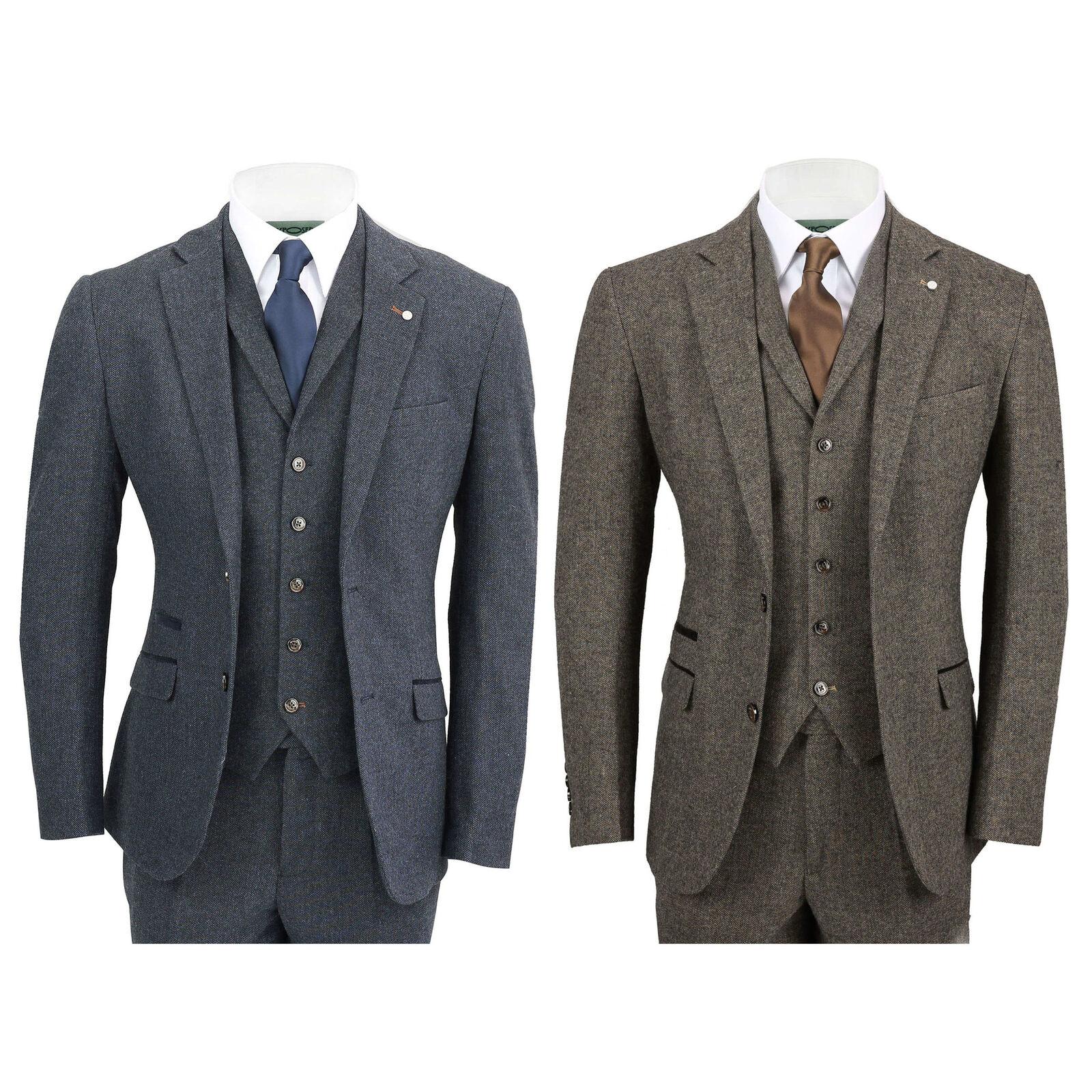 Herren Wool Mix 3 Piece Suit Vintage Herringbone Tweed TailoROT Fit in Braun, Navy