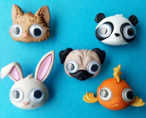 Google ojos Pug Perro Gato Conejo de pescado Panda Animal Vestido para arriba Craft Botones