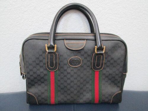 Authentic Vintage Gucci Black Classic Satchel Red… - image 1