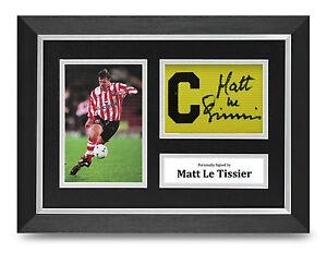 Matt-Le-Tissier-Signed-A4-Photo-Framed-Captains-Armband-Display-Southampton-COA