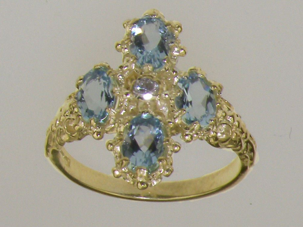 9ct Yellow gold CZ & AAA Aquamarine Ladies Cluster Ring - Sizes J to Z