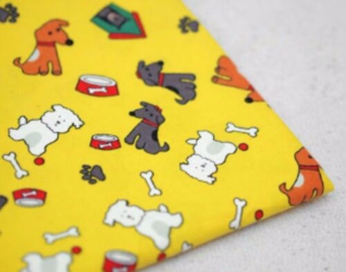 Puppy friends Yellow 100/% Cotton napped fabric Fleece like dog animal F539*